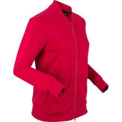 Bluza rozpinana z aksamitnymi wstawkami, długi rękaw bonprix ciemnoczerwony. Czerwone bluzy rozpinane damskie bonprix, z dresówki, z długim rękawem, długie. Za 109,99 zł.