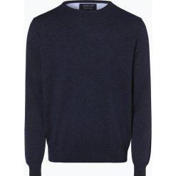 Andrew James - Sweter męski, niebieski. Niebieskie swetry klasyczne męskie Andrew James, m, prążkowane, z kontrastowym kołnierzykiem. Za 149,95 zł.