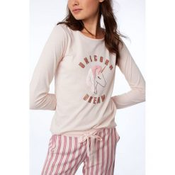 Etam - Bluzka piżamowa 650156970. Szare koszule nocne i halki Etam, z nadrukiem, z bawełny. Za 89,90 zł.