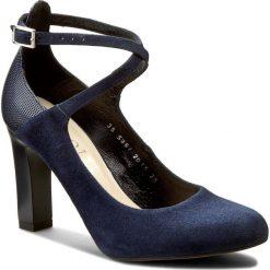 Półbuty KOTYL - 5897 Granat Zamsz/Gr.Lak. Niebieskie creepersy damskie Kotyl, z lakierowanej skóry, eleganckie, na obcasie. W wyprzedaży za 199,00 zł.