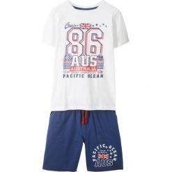 Spodnie dziewczęce: Shirt + bermudy dresowe (2 części) bonprix niebiesko-biały z nadrukiem