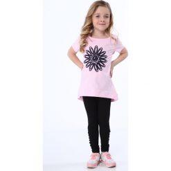 Legginsy dziewczęce: Legginsy dziewczęce ze splotem na nogawkach czarne NDZ8699