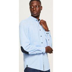 Koszula slim fit z łatami na łokciach - Niebieski. Niebieskie koszule męskie na spinki Reserved, l. Za 119,99 zł.