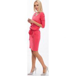 Koralowa Sukienka Wiązana w Talii 9729. Pomarańczowe sukienki marki Fasardi, l, oversize. Za 59,00 zł.