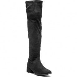Muszkieterki TAMARIS - 1-25528-21 Black Uni 007. Czarne buty zimowe damskie Tamaris, z materiału, przed kolano, na wysokim obcasie, na obcasie. Za 279,90 zł.
