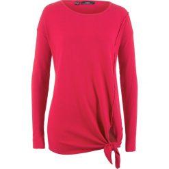 Sweter z dzianiny o gładkim splocie z przewiązaniem bonprix czerwony. Czerwone swetry klasyczne damskie marki bonprix, z dzianiny. Za 49,99 zł.