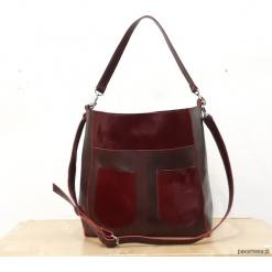 Bordowa skórzana torba. Czerwone torebki klasyczne damskie marki Reserved, duże. Za 360,00 zł.