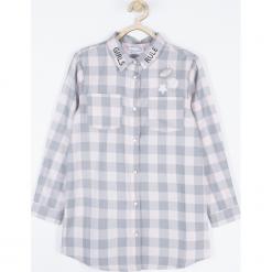 Bluzka. Szare bluzki dziewczęce bawełniane UNICORN, z aplikacjami, z klasycznym kołnierzykiem. Za 69,90 zł.