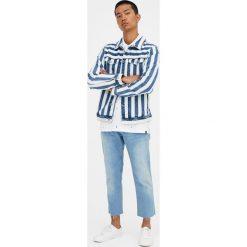 Kurtka jeansowa w paski. Niebieskie kurtki męskie jeansowe marki Reserved, l. Za 96,90 zł.