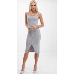 Sukienki: Jasnoszara sukienka z guzikami 21529