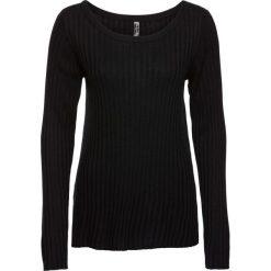 Swetry klasyczne damskie: Sweter w delikatny prążek bonprix czarny