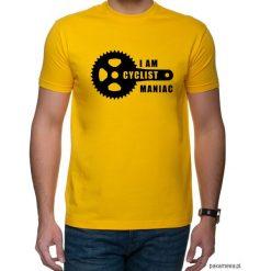 Koszulka T-SHIRT Maniac. Pomarańczowe t-shirty męskie z nadrukiem marki Pakamera, m. Za 75,00 zł.