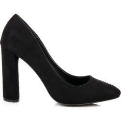 Buty ślubne damskie: ZAMSZOWE CZÓŁENKA NA SŁUPKU Merg czarne