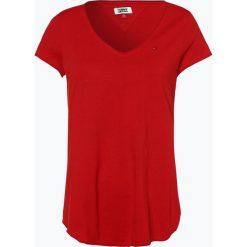 Tommy Jeans - T-shirt damski, czerwony. Czerwone t-shirty damskie Tommy Jeans, xs, z haftami, z jeansu. Za 129,95 zł.