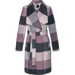 Płaszcze damskie: Płaszcz z paskiem bonprix niebieski nocny – matowy jasnoróżowy w kratę