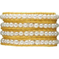 Bransoletki damskie na nogę: Skórzana bransoletka w kolorze żółto-białym z perłami słodkowodnymi