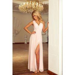 Brzoskwiniowa Sukienka Wieczorowa Maxi z Dekoltem V. Czerwone długie sukienki marki Molly.pl, na studniówkę, l, wizytowe, z długim rękawem, dopasowane. Za 299,90 zł.