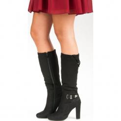 ZAMSZOWE KOZAKI NA OBCASIE. Czarne buty zimowe damskie GROTO GOGO, z zamszu, na obcasie. Za 81,90 zł.