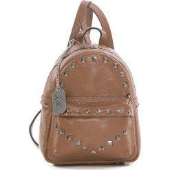 Plecaki damskie: Skórzany plecak w kolorze jasnobrązowym – 17 x 22 x 12 cm
