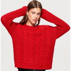 Sweter z warkoczowym splotem - Czerwony. Żółte swetry klasyczne damskie marki ekoszale, ze splotem. Za 79,99 zł.