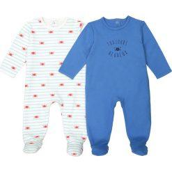 Jednoczęściowa piżama z nadrukiem 0-3 lat (zestaw 2 szt.) certyfikat Oeko Tex. Niebieskie bielizna chłopięca La Redoute Collections, z nadrukiem, z bawełny. Za 70,52 zł.