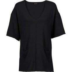 Swetry klasyczne damskie: Sweter dzianinowy z rękawami do łokcia bonprix czarny