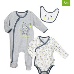 Pajacyki niemowlęce: 3-częściowy zestaw w kolorze szarym i biało-granatowym