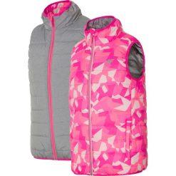 Bezrękawnik puchowy dla małych dziewczynek JKUDB101 - różowy. Czerwone kurtki dziewczęce przeciwdeszczowe marki 4F JUNIOR, z materiału. Za 59,99 zł.