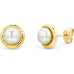 Złote kolczyki-wkrętki z perłami. Białe kolczyki damskie REVONI, z perłą, złote. W wyprzedaży za 194,95 zł.
