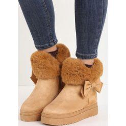 Camelowe Śniegowce Warm Up. Brązowe buty zimowe damskie marki Born2be, z okrągłym noskiem, na koturnie. Za 99,99 zł.