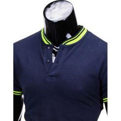 T-SHIRT MĘSKI BEZ NADRUKU S661 - GRANATOWY. Szare t-shirty męskie z nadrukiem marki Ombre Clothing, m, z bawełny, ze stójką. Za 29,00 zł.