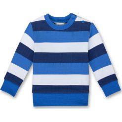 Bluza w kolorze niebiesko-białym. Niebieskie bluzy chłopięce rozpinane Sanetta, w paski, z materiału. W wyprzedaży za 42,95 zł.