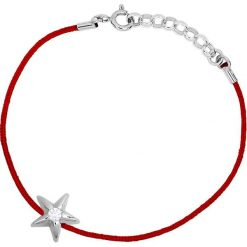 Bransoletki damskie na nogę: Bransoletka w kolorze czerwonym z diamentem