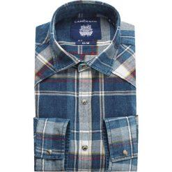 Koszula Jeansowa w Kratę Cliftown. Brązowe koszule męskie jeansowe marki LANCERTO, m, w kolorowe wzory, z kontrastowym kołnierzykiem. W wyprzedaży za 199,90 zł.