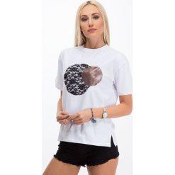 T-shirty damskie: Biały t-shirt z wprasowaną aplikacją 3423