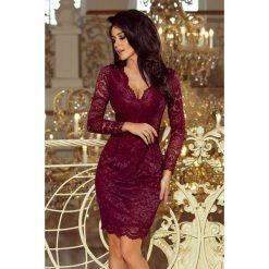 Sukienka z pięknej koronki sf-170. Czarne długie sukienki marki SaF, s, w koronkowe wzory, z koronki, klasyczne, z klasycznym kołnierzykiem, z długim rękawem. Za 199,90 zł.