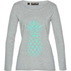 Swetry klasyczne damskie: Sweter bonprix jasnoszary melanż – niebieski mentolowy