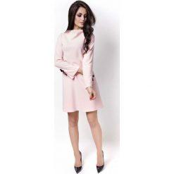 Różowa Sukienka Wizytowa z Kokardkami na Rękawach. Czerwone sukienki balowe marki Molly.pl, l, z tkaniny, z kokardą, rozkloszowane. Za 139,90 zł.