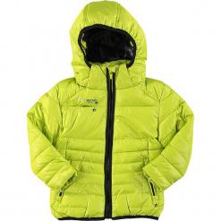 Kurtka zimowa w kolorze limonkowym. Czerwone kurtki dziewczęce przeciwdeszczowe marki Peak Mountain, z aplikacjami, z materiału. W wyprzedaży za 172,95 zł.
