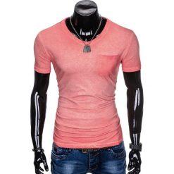 T-SHIRT MĘSKI BEZ NADRUKU S674 - KORALOWY. Zielone t-shirty męskie z nadrukiem marki Ombre Clothing, na zimę, m, z bawełny, z kapturem. Za 24,99 zł.