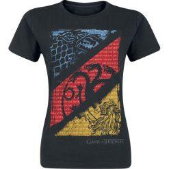 Bluzki asymetryczne: Gra o Tron Diagonal Sigils Koszulka damska czarny