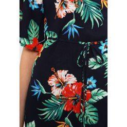 Sukienki: Missguided TROPICAL PRINT WRAP OVER TIE WAIST MIDI DRESS FLORAL Sukienka letnia navy