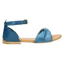 Sandały męskie: Skórzane sandały w kolorze niebiesko-koniakowym
