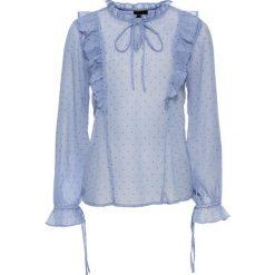 Bluzki damskie: Bluzka z falbanami bonprix niebiesko-czarny w kropki