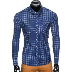 KOSZULA MĘSKA W KRATĘ Z DŁUGIM RĘKAWEM K417 - GRANATOWA/ŻÓŁTA. Brązowe koszule męskie na spinki marki Ombre Clothing, m, z aplikacjami, z kontrastowym kołnierzykiem, z długim rękawem. Za 49,00 zł.