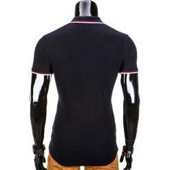 KOSZULKA MĘSKA POLO Z NADRUKIEM S850 - CZARNA. Czarne koszulki polo Ombre Clothing, m, z nadrukiem, z bawełny. Za 29,00 zł.