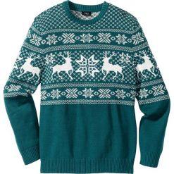 Swetry klasyczne męskie: Sweter w norweski wzór Regular Fit bonprix niebieskozielony morski