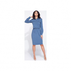 Sukienka koszulowa na jesień. Niebieskie sukienki balowe marki Bien fashion, na jesień, m, z bawełny, z wykładanym kołnierzem, z długim rękawem, koszulowe. Za 159,00 zł.