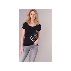 T-shirty z krótkim rękawem Emporio Armani EA7  TRAIN LOGO SERIES STRASS. Czarne t-shirty damskie marki Emporio Armani EA7, l. Za 295,20 zł.