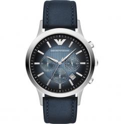 Zegarek EMPORIO ARMANI - Renato AR2473 Blue/Silver/Steel. Szare zegarki męskie marki Emporio Armani, l, z nadrukiem, z bawełny, z okrągłym kołnierzem. Za 1149,00 zł.